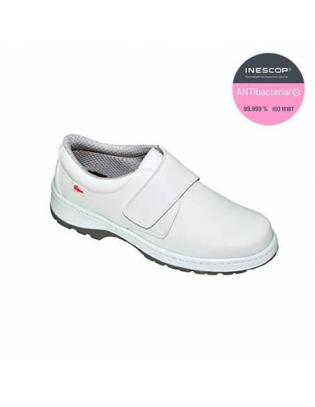 Zapato sanitario con velcro Milan SCL Dian lisos blancos antibacterias