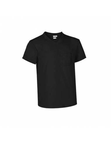 Camiseta básica algodón cuello pico con bolsillo