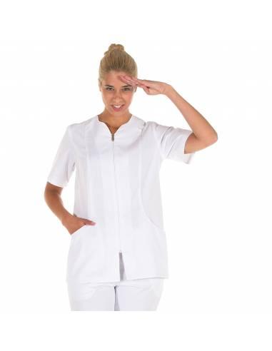 Casaca sanitaria mujer blanca enfermera dentista manga corta con cremallera