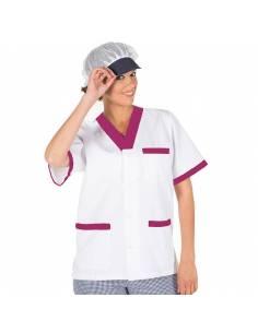 Casaca sanitaria combinada con botones blanca y morada. Manga corta escote pico