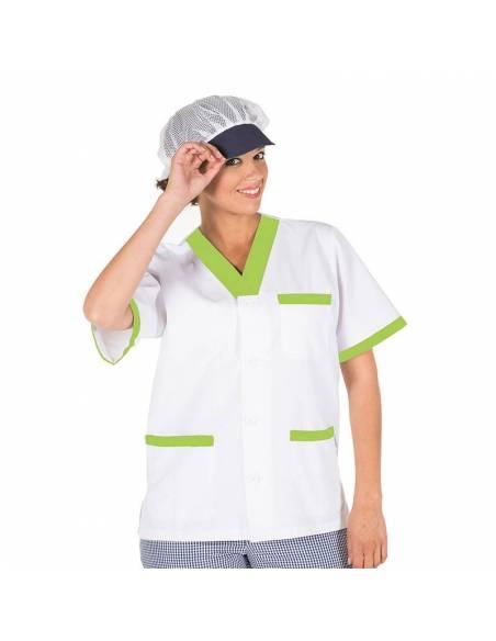 Casaca sanitaria combinada con botones blanca y verde pistacho. Manga corta escote pico