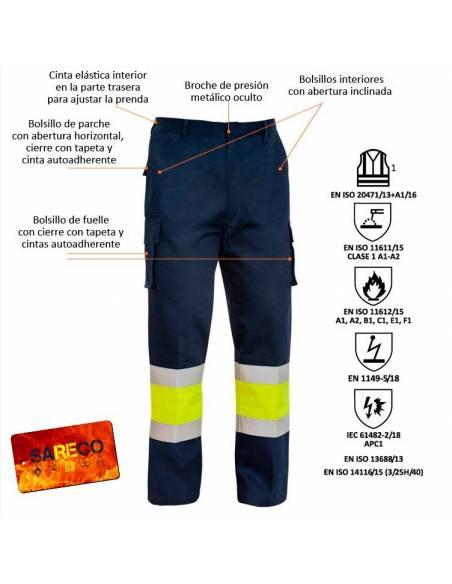 Pantalón ignífugo antiestático arco eléctrico alta visibilidad algodón Sareco Adeepi