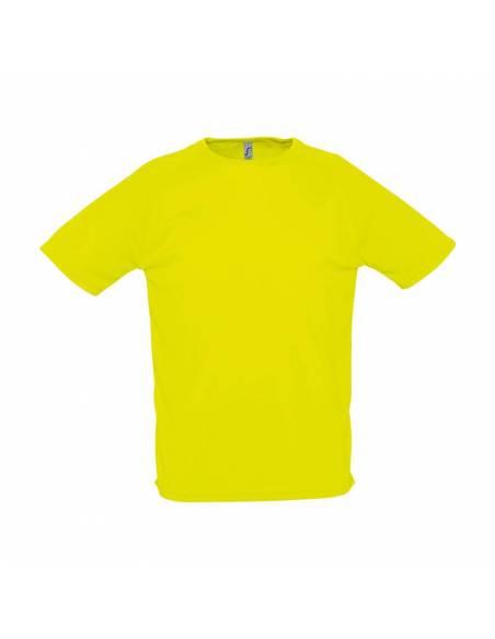 Camiseta deportiva tejido técnico hombre manga corta amarillo fluor