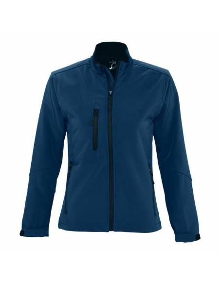 Chaqueta Cortavientos Softshell ajustado para mujer azul marino