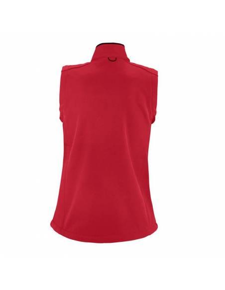 Chaleco cortavientos tipo softshell entallado mujer rojo espalda