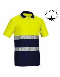 Polo reflectante algodón manga corta amarillo azul marino Adeepi