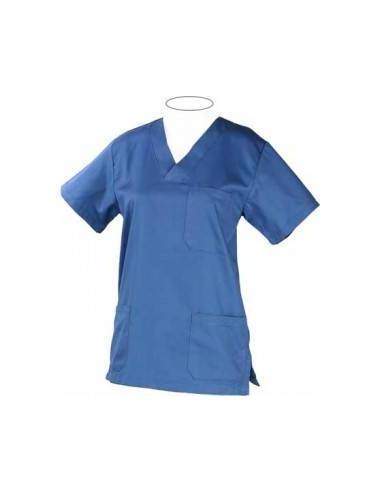 Casaca sanitaria cuello pico manga corta azul
