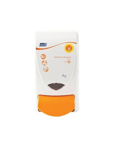 Dispensador crema de protección solar para entornos laborales.